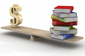 Sign dollar and the books on scales. 3D image.