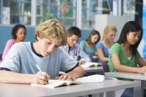 Schoolboy in high school class